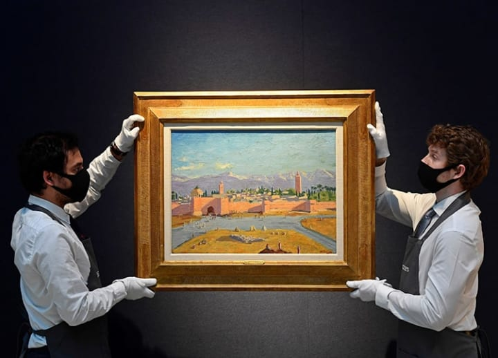 Churchill painted it for Roosevelt in 1943. Now it's up for auction at Christie's.