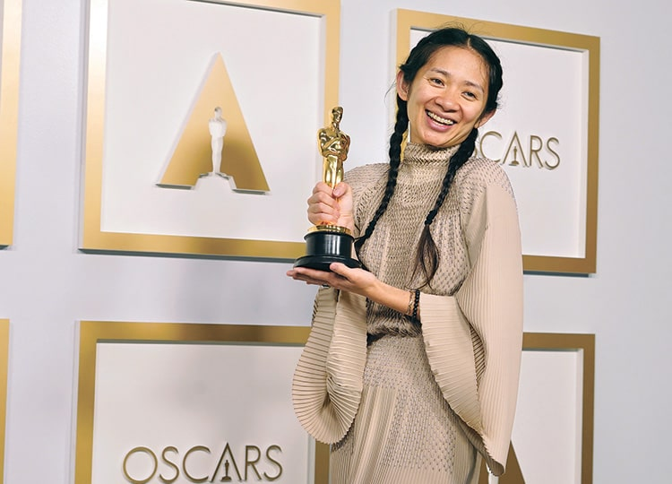 Chloe Zhao, winner of the best director award for Nomadland, poses at the Oscars on April 25 at Union Station in Los Angeles.