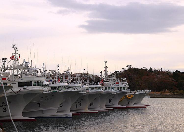 Fishing boats are seen lined up at the Matsukawaura fishing port in Minamisoma City, Fukushima Prefecture, on April 13.