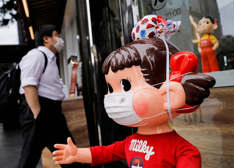A mannequin is displayed outside a store in Tokyo on April 22.