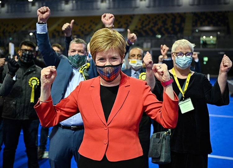 Scottish First Minister Nicola Sturgeon reacts at the vote-counting center in Glasgow's Emirates Arena on May 7.