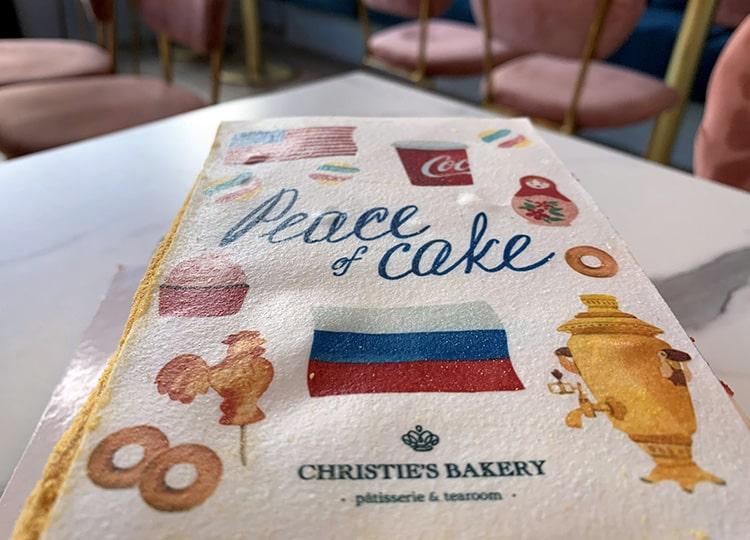 ジュネーブのケーキ職人、米露首脳会談を記念した「Peace Cake」を作成