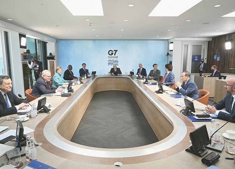 Leaders attend a working session during a G7 summit in Cornwall, Britain, on June 12.