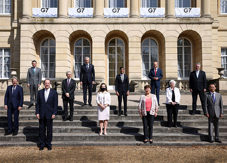 Finance ministers from the G7 nations meet at Lancaster House in London on June 5, ahead of the G7 leaders' summit, scheduled for June 11-13.