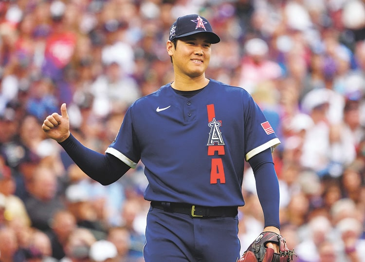American League starting pitcher Shohei Ohtani of the Los Angeles Angels reacts after the first inning of the 2021 MLB All-Star Game at Coors Field in Denver.