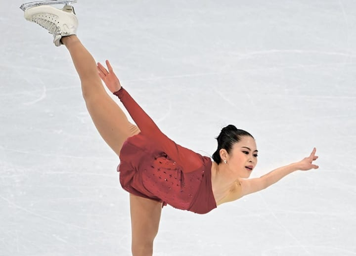 English skills and poise, gliding on a pair of skates