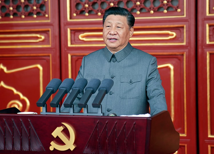 Chinese President and Communist Party leader Xi Jinping delivers a speech at a ceremony marking the centenary of the party in Beijing on July 1.