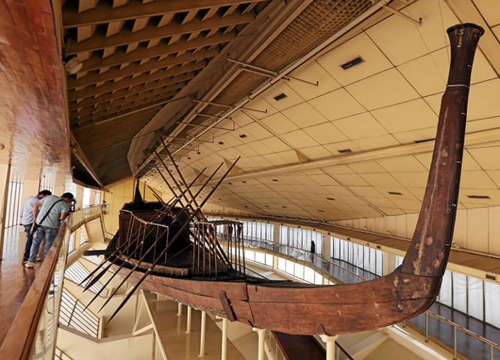 Ancient Solar Boat is moved from pyramids at Giza to Egypt's new grand museum