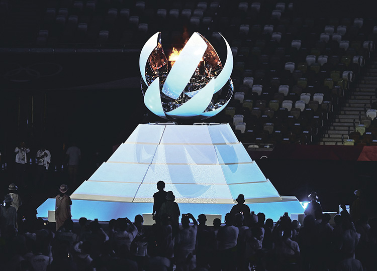 The Olympic Cauldron with the Olympic flame is pictured during the closing ceremony of the 2020 Summer Olympic Games on Aug. 8 at the National Stadium in Tokyo.