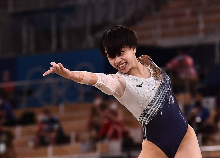 Mai Murakami competes in the artistic gymnastics women's floor exercise final during the Tokyo Olympics at the Ariake Gymnastics Centre on Aug. 2.
