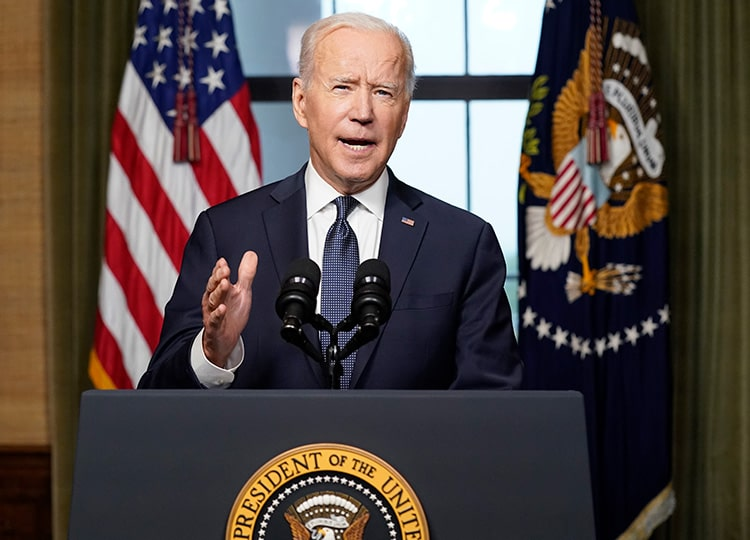 U.S. President Joe Biden speaks from the Treaty Room in the White House about the withdrawal of the remainder of the U.S. troops from Afghanistan on April 14.