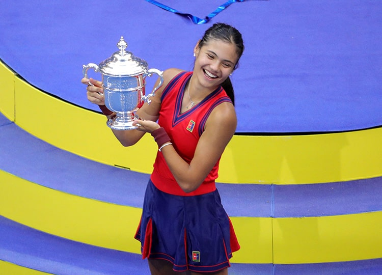 Britain's Emma Raducanu celebrates after winning the 2021 U.S. Open Tennis tournament women's final match at the USTA Billie Jean King National Tennis Center in New York on Sept. 11.
